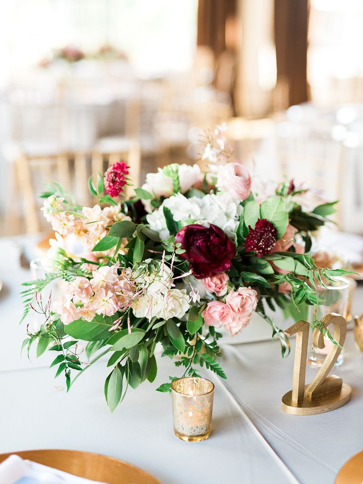 wedding centerpieces fake flowers%0A wedding reception centerpiece with low florals and gold accents
