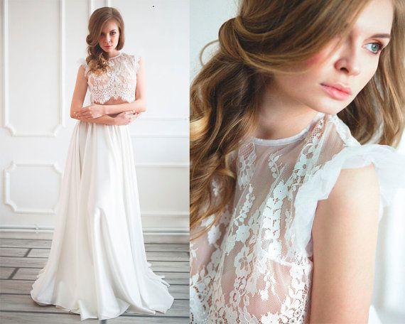 Top mariée dentelle deux pièces jupe de par AnnaSkoblikova sur Etsy