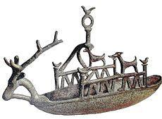 nuragic ship   Model of Nuragic ship. Cagliari, Museo Archeologico Nazionale. Sardinia.