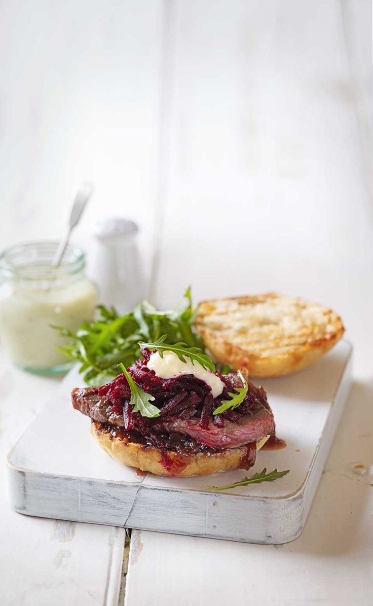 Ready-prepared beetroot, mayonnaise and caramelised onions make this steak sandwich recipes quick and easy to prepare.
