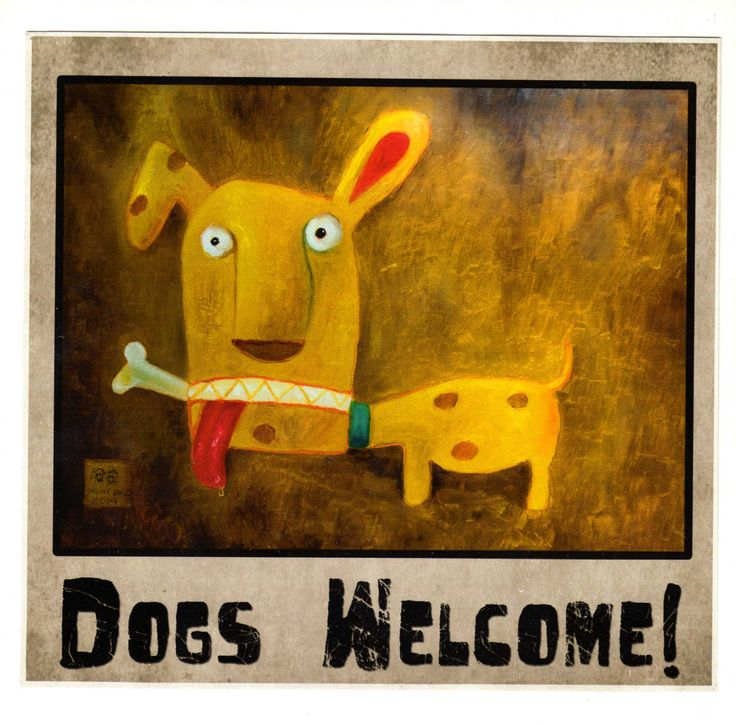 """""""Dogs welcome"""" scticker by Delux Dollz"""