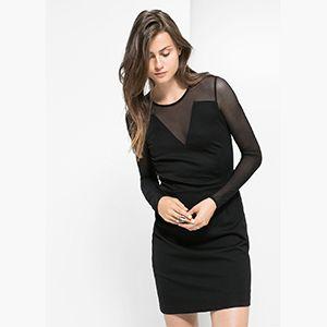Vestido negro con transparencia de manga larga #zara