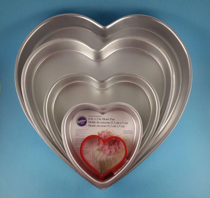 Wilton 4 Piece Heart Shaped Tiered Cake Pan Set ~ Valentines Wedding Anniversary #Wilton