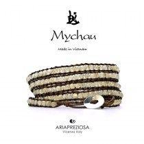 Mychau - Bracciale Vietnam originale realizzato con Citrino naturale su base bracciale col. Testa di Moro