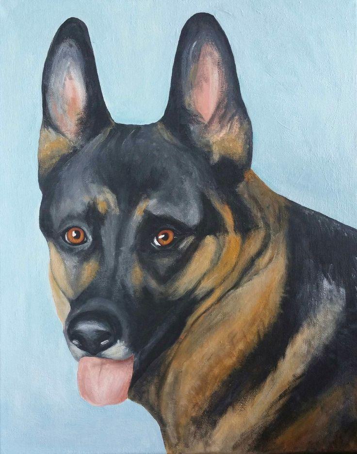 German shepherd 40x50cm acrylic on canvas