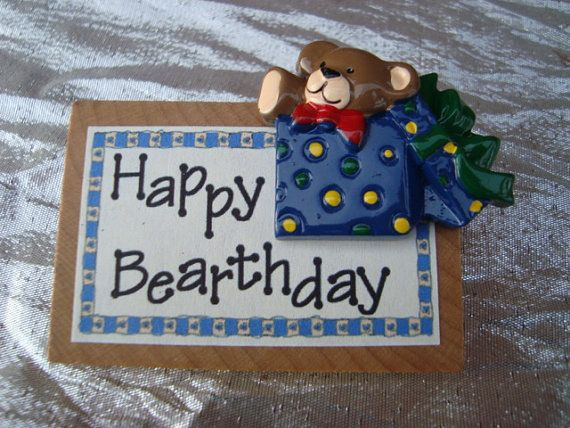 Happy Birthday Teddy Bear Pin Button Brooch by ShoppingLounge