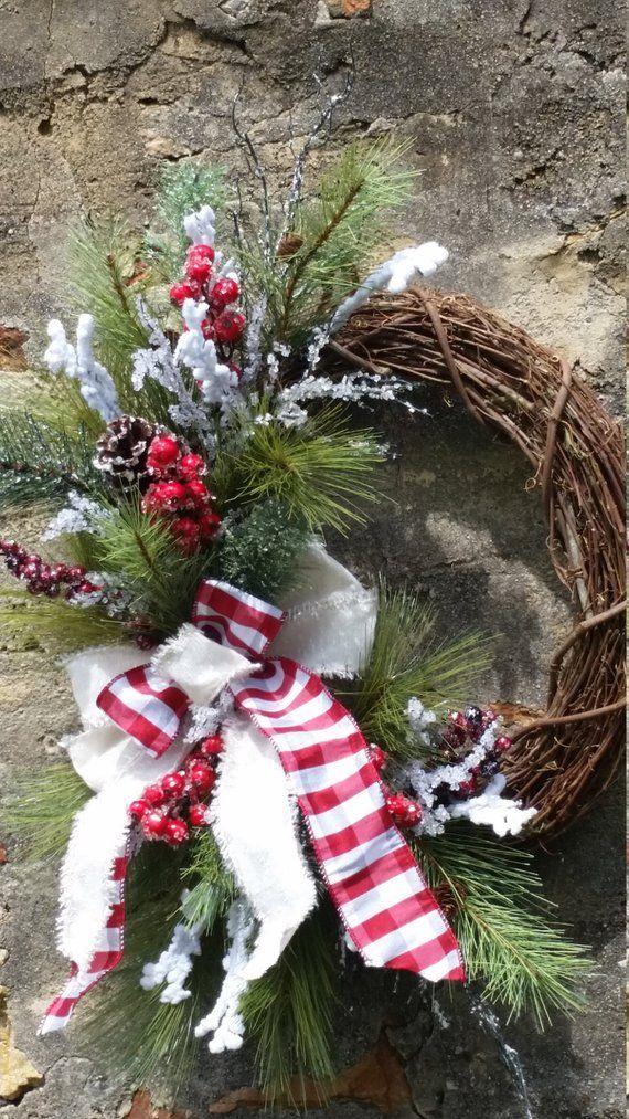 christmas wreaths for front door farmhouse christmas wreath rh pinterest com