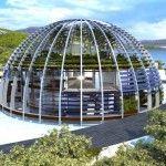 Naomi Campbell glass dome house shaped like the eye of Horus