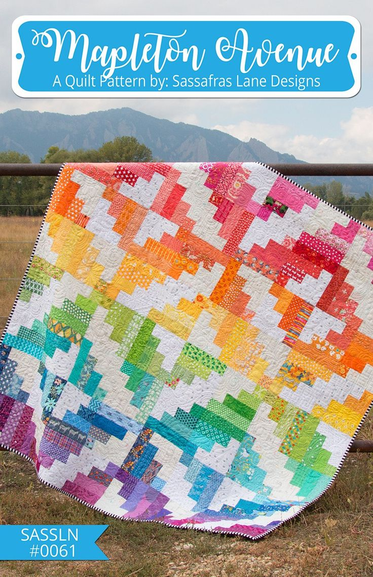 Mapleton Avenue By Wolf, Shayla & Wolf,  Kristy  - Mapleton Avenue is a fast, fun, and modern jelly roll or scrap pattern!  Just 1 simple block gets twisted and turned to create a fun overall pattern.  Grab a 2-1/2in pre-cut strip pack or dig through those scraps to get stared sewing today.  Pattern includes 4 sizes:    Tall: 48in x 64in  Grande: 64in x 64in  Venti: 64in x 80in  Enorme: 96in x 96in