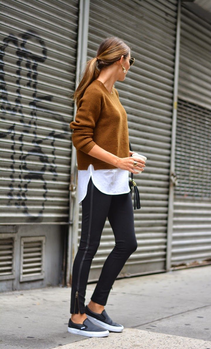 brown sweater and pants