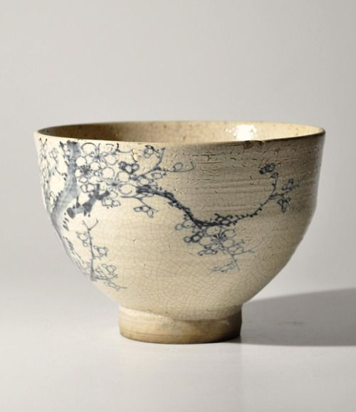 Antique Japanese kutani blue and white tea bowl, ancient japanese bowl, wheel thrown, possibly mishima technique,