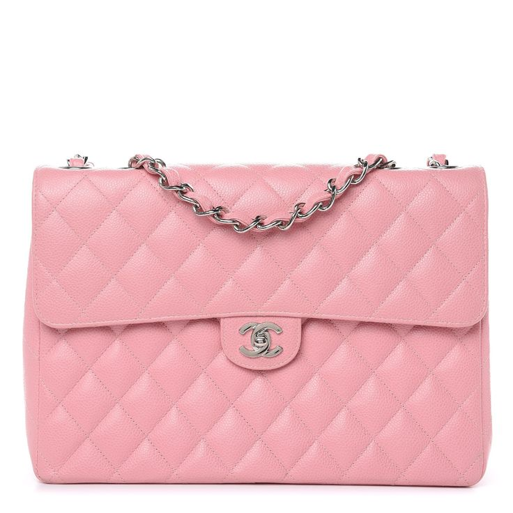 CHANEL Caviar Quilted Jumbo Single Flap Pink