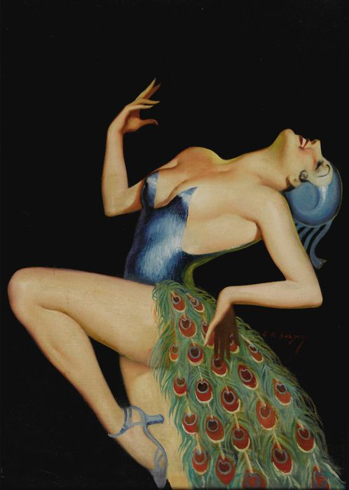 """ Pretty as a Peacock (c. 1935) ""   by Earle K Bergey. Think this could make a great pinup tattoo."