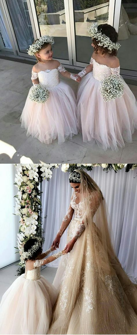 Princess Ball Gown Tulle Flower Girl Dresses with Long Sleeves 2018