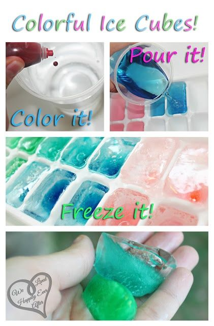 gekleurde ijsblokjes met 'foodcoloring'