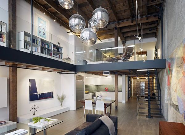 living in office space. modern warehouse loft transformed living in office space