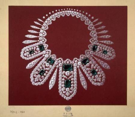 The design of a necklace to Empress Maria Feodorovna, mother to Nikolay II. The Hermitage, the Romanovs collection