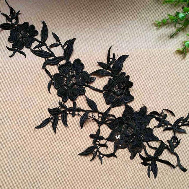 5 Пары 40X18 см Бесплатная Доставка Водорастворимая Черный Цветок Кружева DIY Craft Текстильной Кружева Аппликация Патч Для Аксессуары Для одежды TT127
