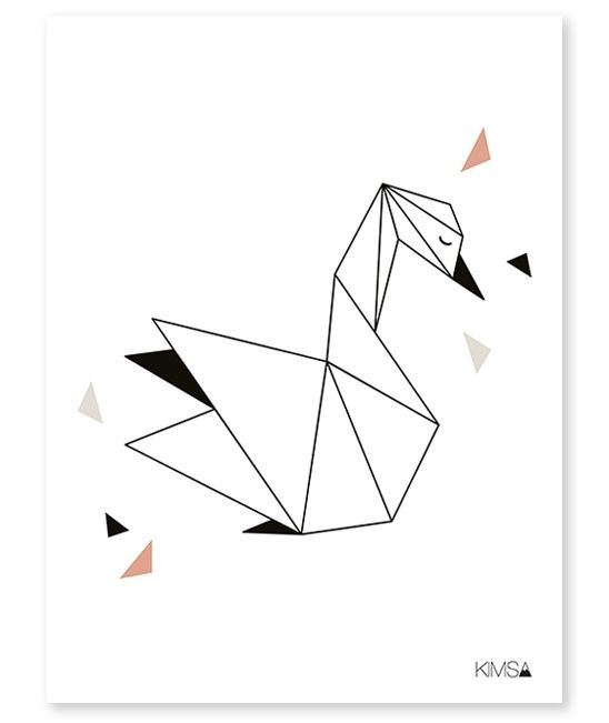 Origami Play Zwaan - Poster