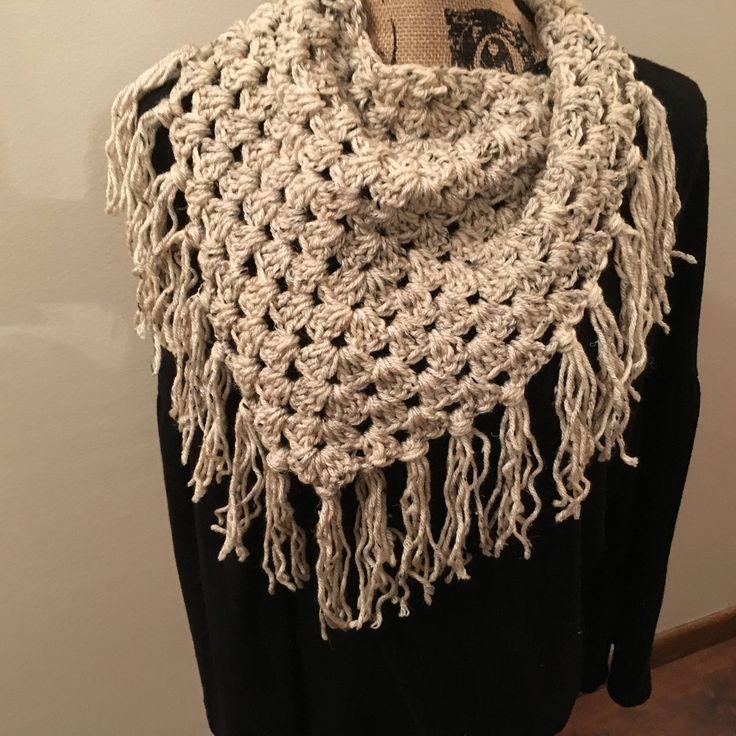 Crochet, Fringe, Scarf, Triangle, Oatmeal, by MagicCrochetCreation on Etsy