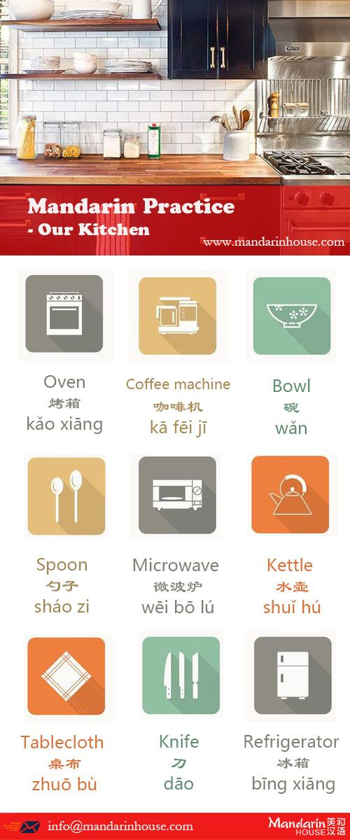 Stuffs you can see in your kitchen For more info please contact: bodi.li@mandarinhouse.cn The best Mandarin School in China