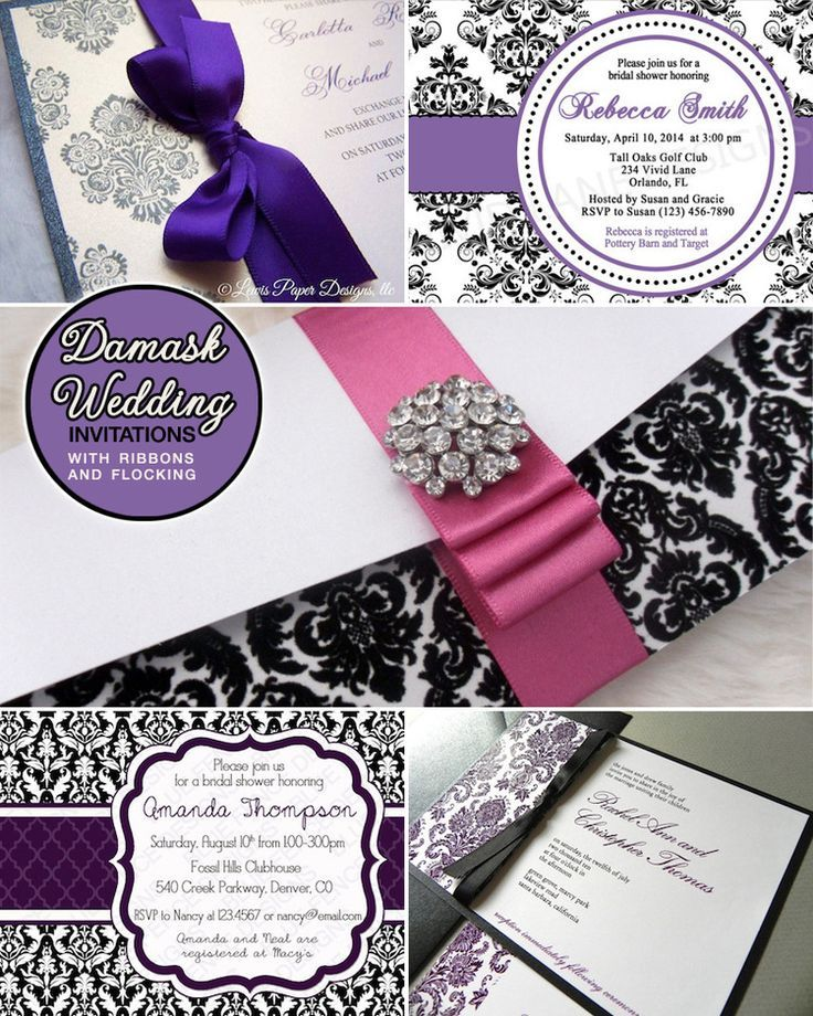 fairytale bridal shower invitation wording%0A Purple and Black Damask Wedding Invitations and an Elegant Maryland Wedding  with Purple Accents