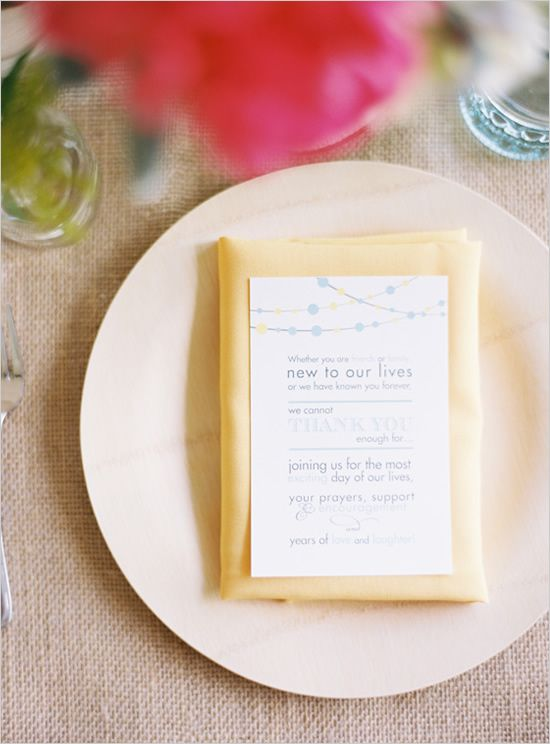 thank you notes graciously placed on wedding napkins to let your guest know you appreciate them sharing your day. awwww. love.: Yellow Weddings, Notes Graciously, Menu Cards, Wedding Napkins, Awwww, Garden Weddings