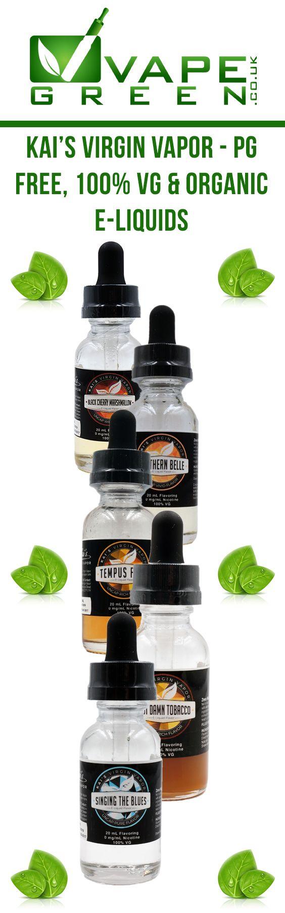 Kai's Virgin Vapor 100% VG & Organic E-liquids available at VapeGreen.co.uk #kaisvirginvapor #organic #100vg #pgfree #eliquid #ejuice #vapegreen #vape #vaping #vapor #vapeuk #ukvapers #vapefam