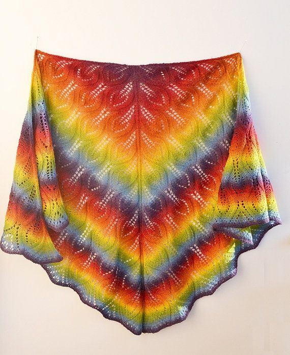 Rainbow  knitted shawl my inspiration unique gifts by DosiakStyle #rainbowshawl #knittedshawl