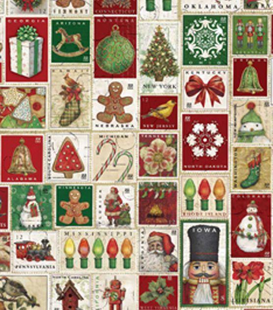 Holiday Inspirations Fabric Christmas Postage Stamps