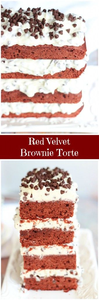 Red Velvet Brownies are layered with Chocolate Chip Cream Cheese Buttercream for an ultra-decadent holiday dessert that is certain to impress! With a little finesse, this Red Velvet Brownie Torte is easier than it looks! #BRMHolidays #CleverGirls