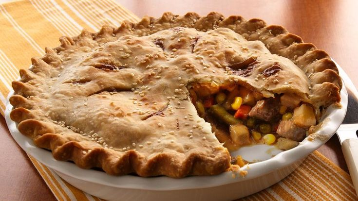 Tender sirloin, veggies and potatoes are nestled in a tender pastry crust.