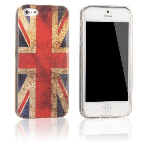 tinxi® Silikon Schutzhülle für iPhone 5S / 5 Silicon Rückschale Cover Case Etui UK England Union Großbritannien Flagge