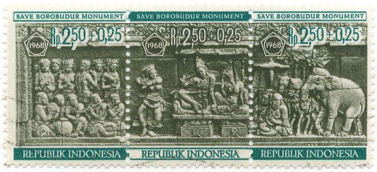 Stamp Set seri Save Borobudur Monument 1968