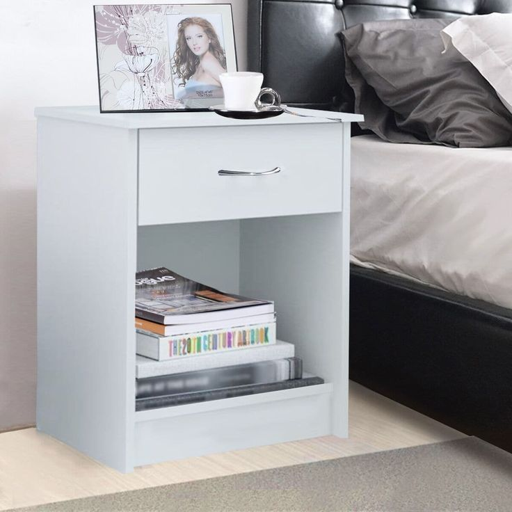 Costway Night Stand Bedroom End Table Bedside Furniture Drawer Sturdy Storage, White, Size 1-drawer (Wood)