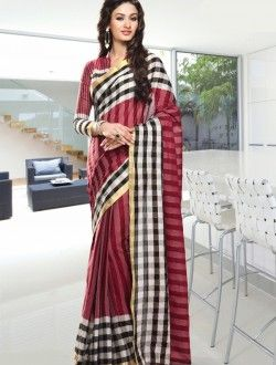 Casual Wear Maroon Cotton Printed Saree