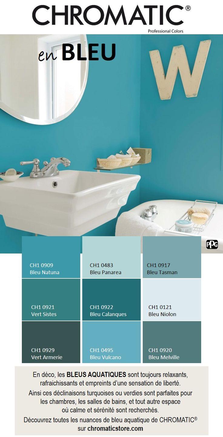 En déco, les BLEUS AQUATIQUES sont toujours relaxants, rafraichissants et empreints d'une sensation de liberté. Ainsi ces déclinaisons turquoises ou verdies sont parfaites pour les chambres, les salles de bains, et tout autre espace où calme et sérénité sont recherchés. Découvrez toutes les nuances de bleu aquatique de CHROMATIC® sur www.chromaticstore.com #déco #bleu #turquoise