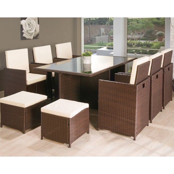 11PC Cube Rattan Garden Furniture - Luxury Leather Beds - Beds.co.uk - The Bed Outlet