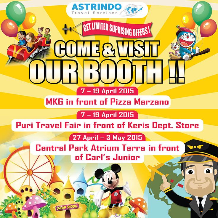 Astrindo Travel Services  Hadir di : 1. Puri Indah Mall Travel Fair 07-19 Apr'15, Center Court 2 depan Galeri Keris. 2. Kelapa Gading Mall Travel Fair 07-19 Apr'15, Mall Kelapa Gading 3 depan Pizza Marzano. Ada disc menarik up to USD 100/orang selama dp di pameran. Untuk Info lebih Lanjut Hubungi : Phone 021 3907576 Email info@astrindotour.co.id Outbound Tour Series Astrindo Travel Services Your Satisfaction Is Our Pleasure