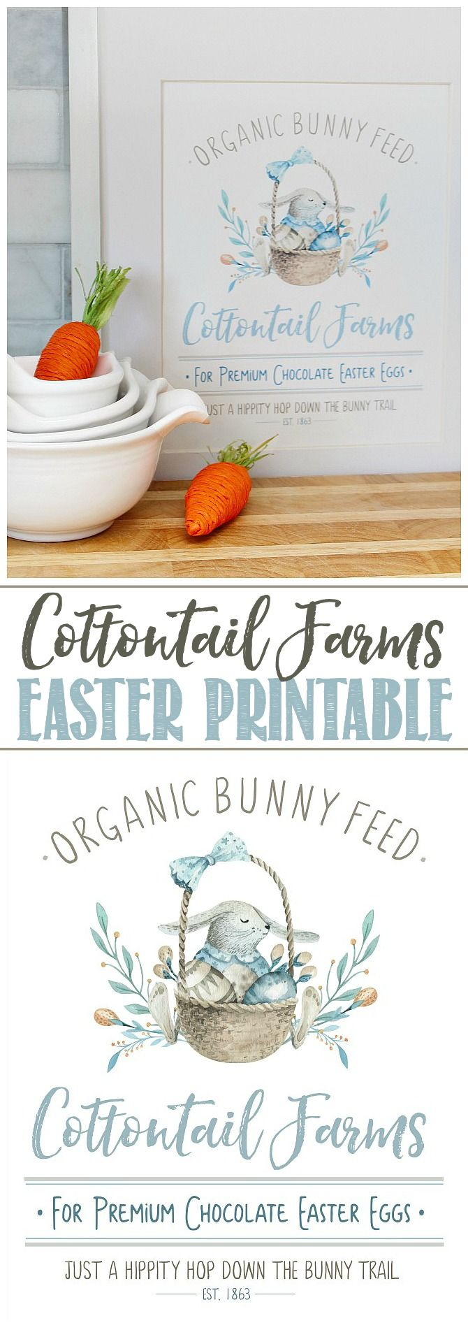 Cottontail Farms Free Easter Printable. I love this cute Easter watercolor print…   – Easter