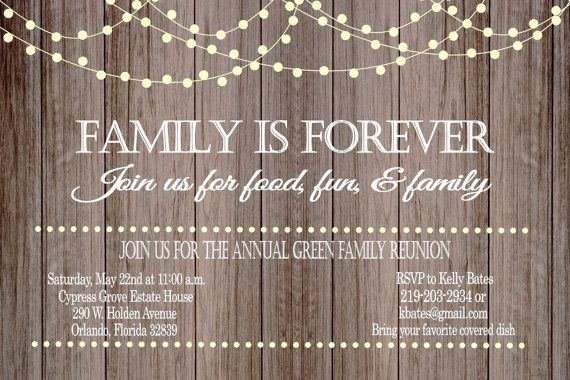 Rustic Family Reunion Invitation with Lights by GoldenGirlDesignz