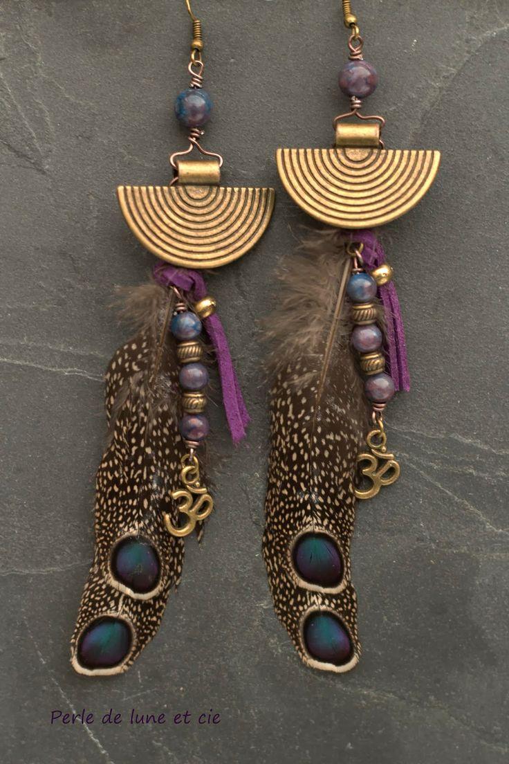 """Perles de lune et cie - Bijoux ethnique, bijoux Bohème, Vintage .: Bijou ethnique - Boucles d'oreille ethnique """"Sanjana"""""""