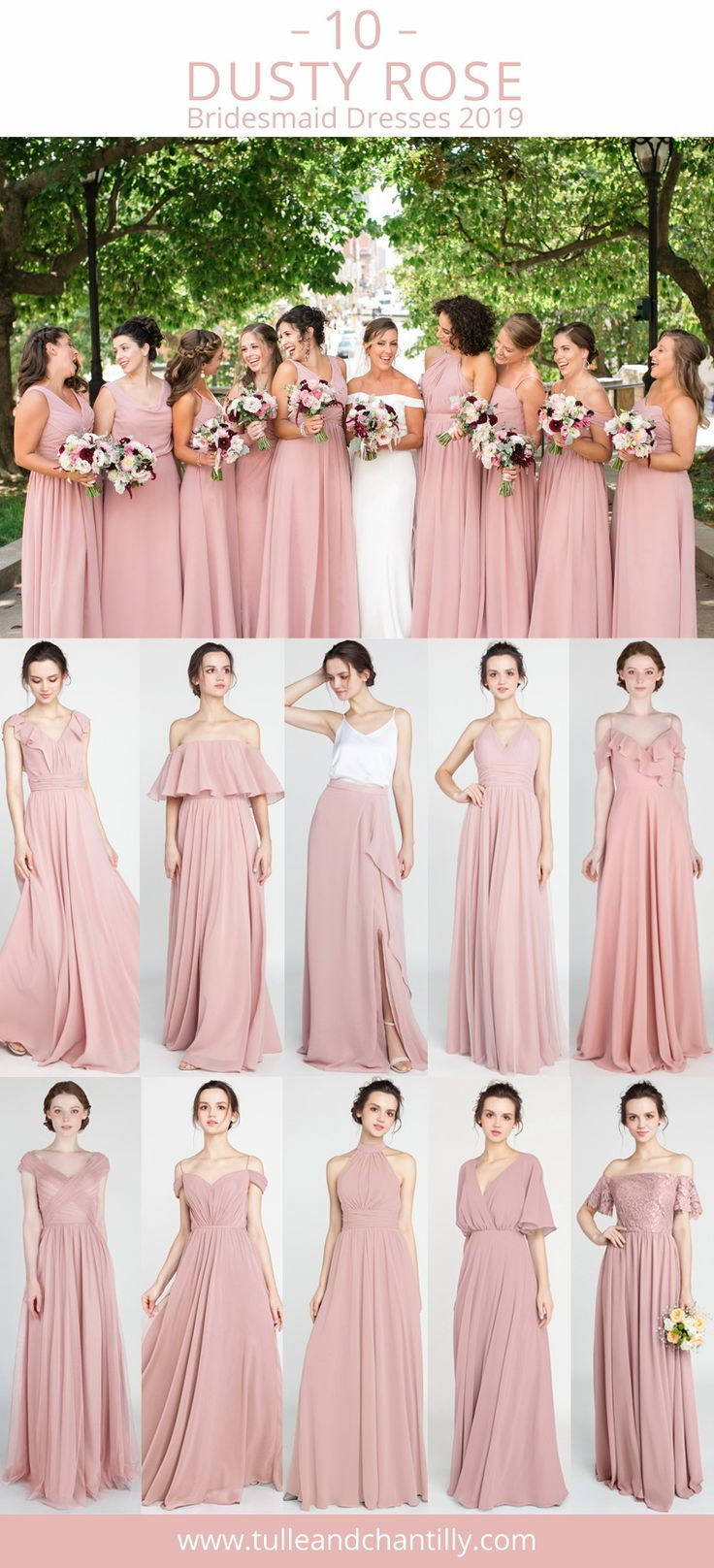 Top 10 Dusty Rose Bridesmaid Dresses 2019 Wedding Weddinginspiration Bridesma Wedd Kleid Altrosa Brautjungfernkleider Lang