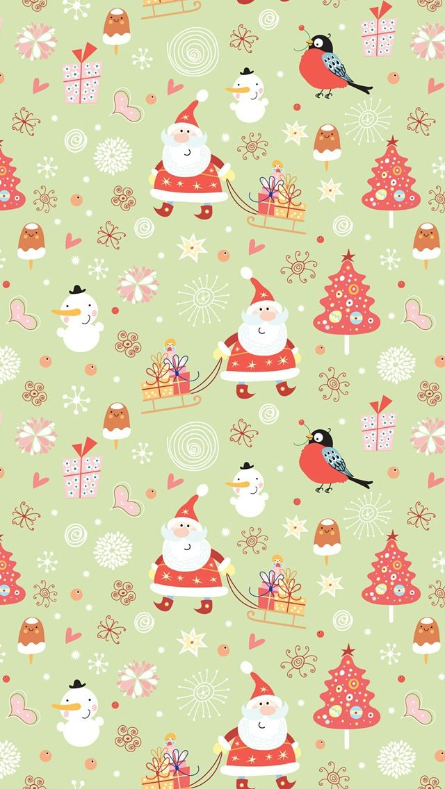 Christmas Santa Pattern ★ Find more seasonal #iPhone + #Android #Wallpapers and #Backgrounds at @prettywallpaper