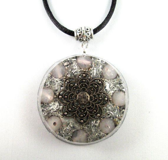 Rose quartz orgonite pendant