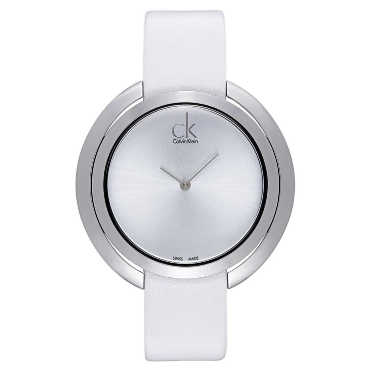 Calvin Klein Women's White and Stainless Steel Luxury Watch