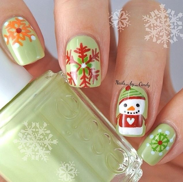 Green Christmas nails !
