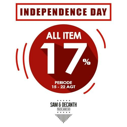 "Great news for all of Indonesian. We will celebrate our 70 years of our freedom soon. Due to celebrating our independence day in 17th August, SAM & DECANTH will give you 17% for ALL ITEM in our webstore and stockist  Started from 15th August to 22nd August 2015 23:59 pm  For purchasing in our webstore, please enter this code ""INDO17"" to applying discount  #samdecanth #packandgo #indonesiamerdeka #ayokerja #17agustus"