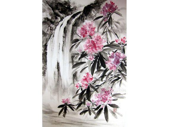 Japanese Ink Painting Sumi-e Suibokuga Ink art by Suibokuga
