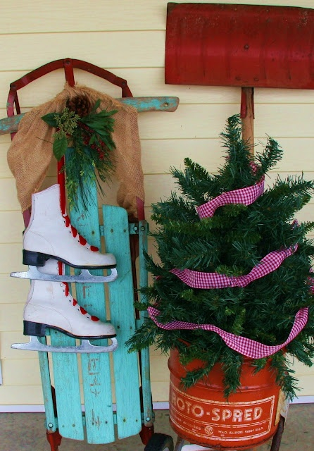 Steadmans' Corner: Christmas on The Porch...love this! Christmas color scheme for front porch that would go with my robbin's egg blue and white bench.